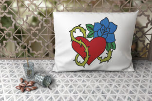Print on Demand: Heart and Wild Rose Outline Flowers Embroidery Design By embroidery dp
