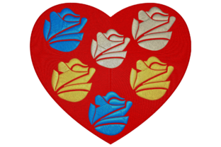 Heart with Flowers Inside Wedding Flowers Embroidery Design By Digital Creations Art Studio