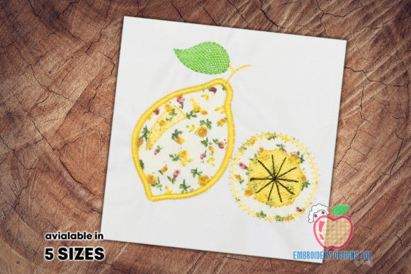 Lemon with the Lemon Slice Food & Dining Embroidery Design By embroiderydesigns101