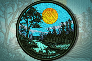 Print on Demand: Nature in a Circle Forest & Trees Embroidery Design By Samsul Huda