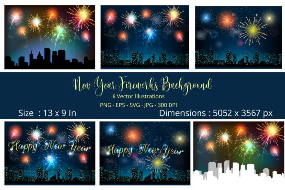 New Year Fireworks Vector Bundle Graphic Backgrounds By artnovi