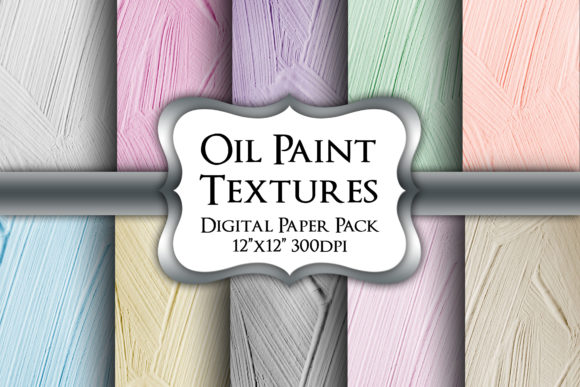 Print on Demand: Oil Paint Textures Digital Paper Pack Graphic Backgrounds By Party Pixelz