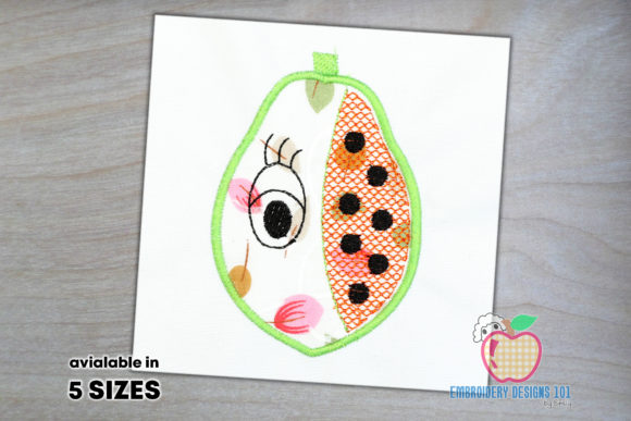 Papaya with an Eye Applique Pattern Food & Dining Embroidery Design By embroiderydesigns101