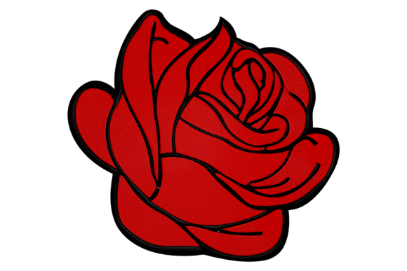 Perfect Red Rose Single Flowers & Plants Embroidery Design By Digital Creations Art Studio