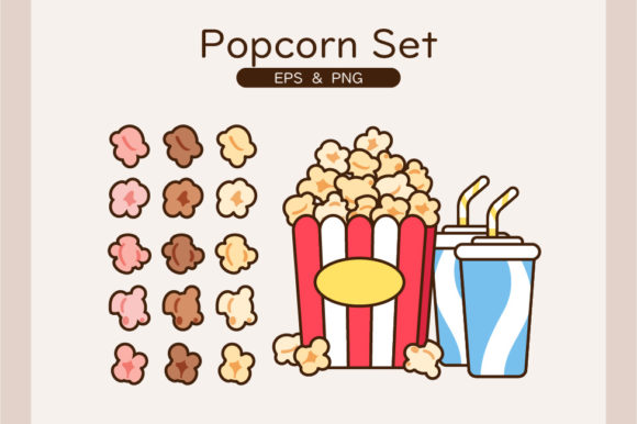 Popcorn Set with Drinks in 3 Flavors Graphic Illustrations By cz.dreamwalker