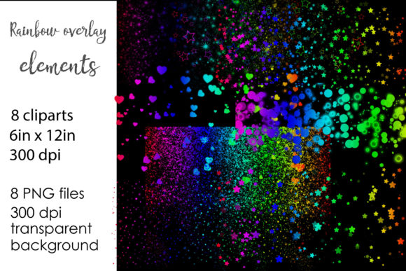 Print on Demand: Rainbow Glitter Overlays PNG Clipart Graphic Illustrations By NatashaPrando