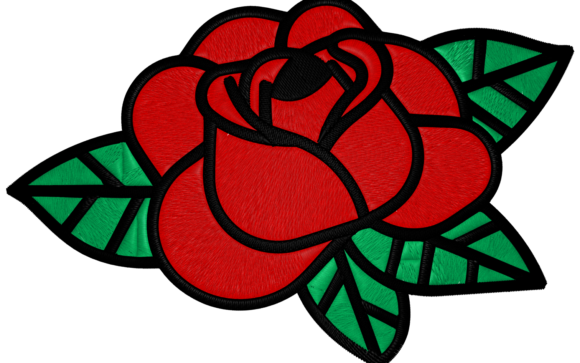 Red Rose Single Flowers & Plants Embroidery Design By Digital Creations Art Studio