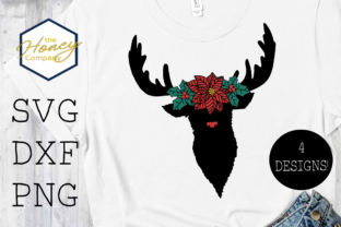 Reindeer Poinsettia Flower Crown SVG PNG Graphic Crafts By The Honey Company
