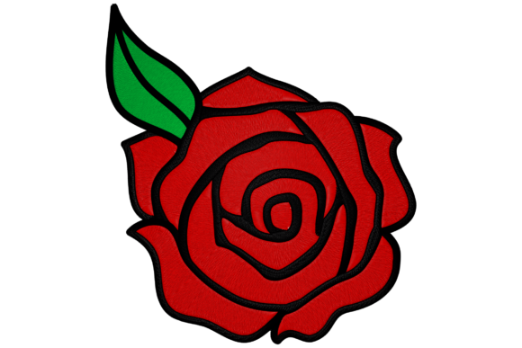 Rose of Passion Single Flowers & Plants Embroidery Design By Digital Creations Art Studio