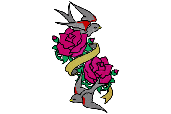 Roses and Swallow Embroidery Birds Embroidery Design By Digital Creations Art Studio