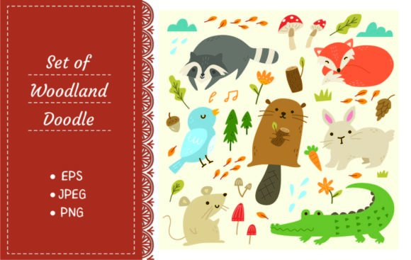 Set of Woodland Animals Vector Graphic Illustrations By Big Barn Doodles