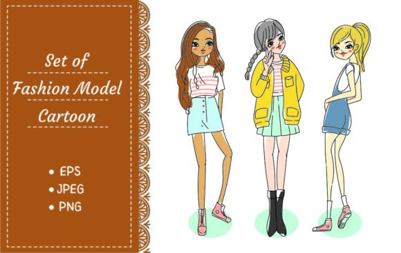 Set of Beautiful Models in Various Pose Graphic Illustrations By Big Barn Doodles