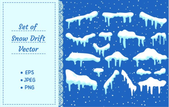 Set of Cartoon Snow Design Element Graphic Illustrations By Big Barn Doodles