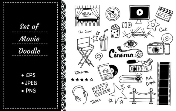 Set of Movie Doodle Graphic Illustrations By Big Barn Doodles