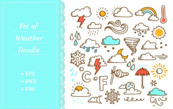 Set of Weather Doodles Graphic Illustrations By Big Barn Doodles