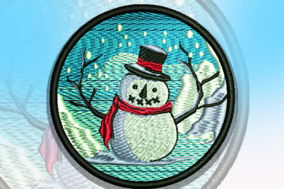 Snowman Patch Christmas Embroidery Design By Samsul Huda