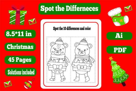 Print on Demand: Spot the Differences Christmas-kdp Graphic KDP Interiors By KDP_Interior_101