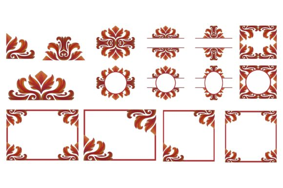 Print on Demand: Swirl Ornament Border Frame Bundle Graphic Crafts By Arief Sapta Adjie