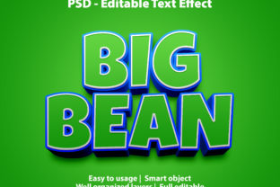 Print on Demand: Text Effect Big Bean Premium Graphic Graphic Templates By yosiduck
