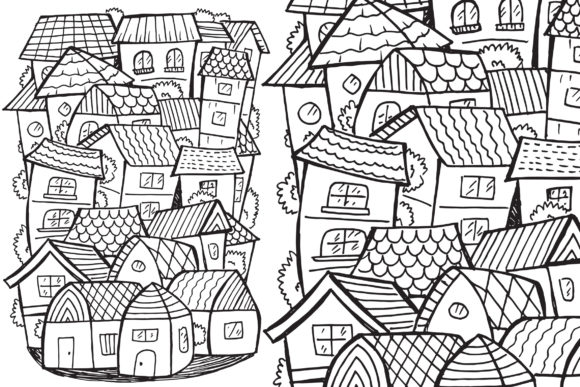 Town Doodle Graphic Coloring Pages & Books By medzcreative