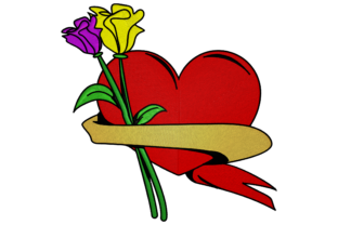 Print on Demand: Two Cyclamen with Heart Wedding Flowers Embroidery Design By embroidery dp 5
