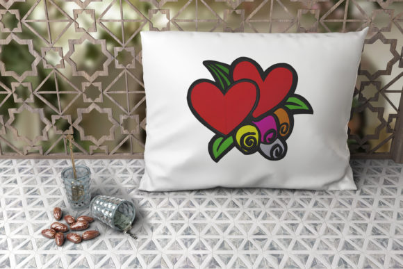 Two Hearts with Four Cyclamen Embroidery Download