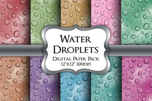 Print on Demand: Water Droplets Digital Paper Pack Graphic Backgrounds By Party Pixelz