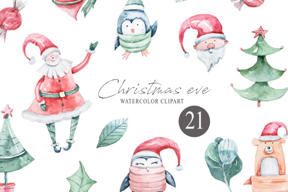 Watercolor Christmas Clipart. Winter Set Graphic Illustrations By Tiana Geo