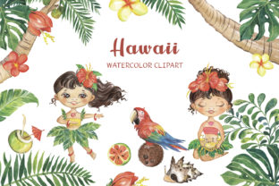 Watercolor Hawaii Clipart Summer Clipart Graphic Illustrations By EvArtPrint
