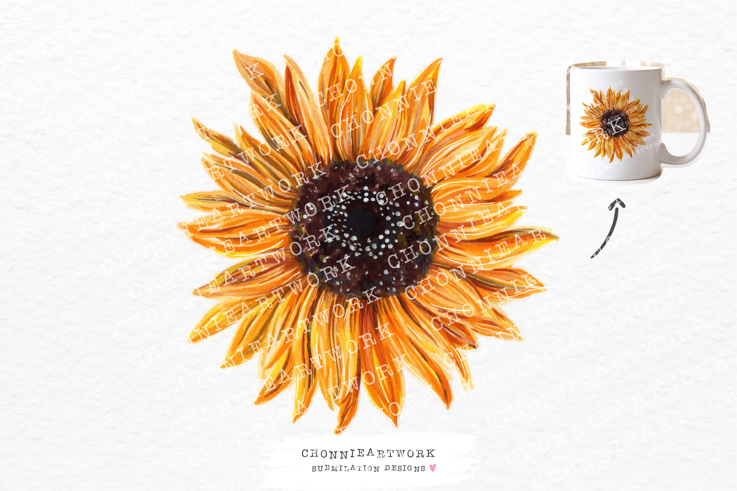 Watercolor Sunflower Clipart SVG File