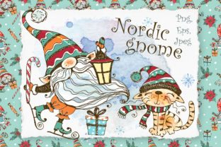 Winter Clipart Nordic Gnome Png and Cat Graphic Illustrations By grigaola
