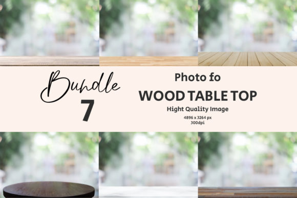 Wooden Table Top with Blur Background Graphic Backgrounds By Avadesing