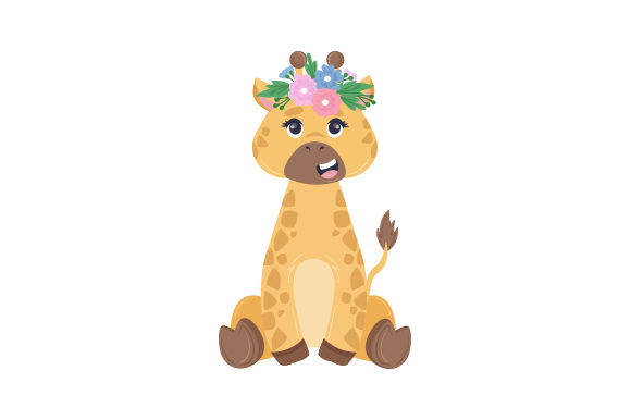 Giraffe with Flower Crown Animals Craft Cut File By Creative Fabrica Crafts