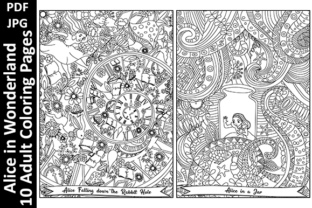 Alice in Wonderland - 10 Coloring Pages Graphic Coloring Pages & Books Adults By Oxyp
