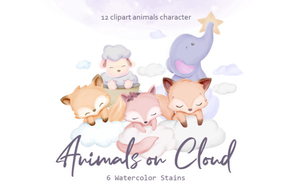 Animals on Cloud Graphic Illustrations By alolieli