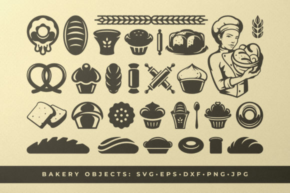 Bakery and Pastry Food Silhouettes Graphic Illustrations By vasyako1984