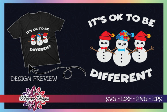 Be Different Christmas Autism Snowman Graphic Print Templates By ssflower