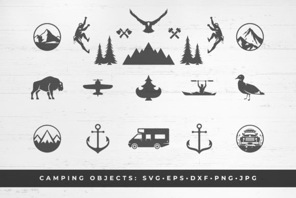 Camping and Mountains Vector Printable Graphic Illustrations By vasyako1984