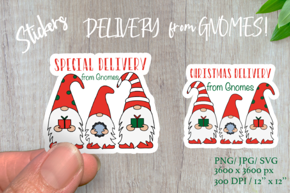 Christmas Gnomes. Delivery Stickers Graphic Illustrations By Createya Design