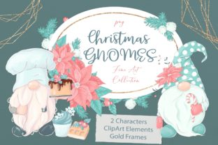 Christmas Gnomes, Gold Frames and Clipart Graphic Illustrations By nicjulia