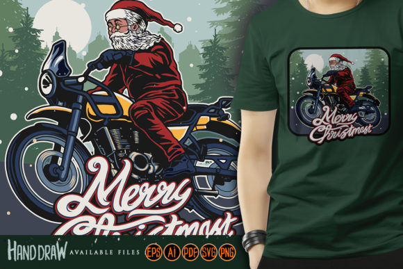 Christmas Santa Claus Riding Motorcycle Graphic Illustrations By artgrarisstudio