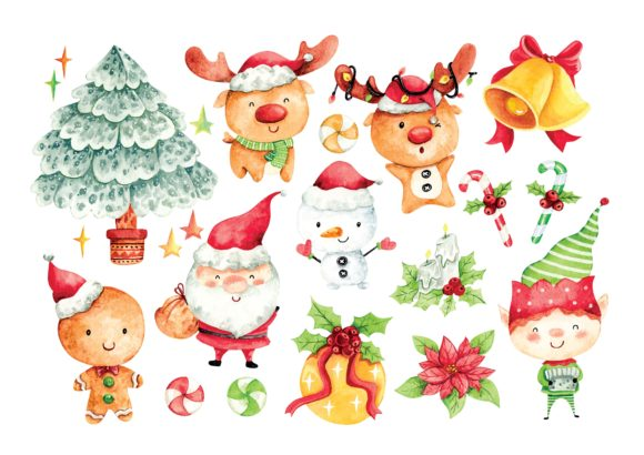 Christmas Cartoon Character Water Color Graphic Illustrations By Big Barn Doodles