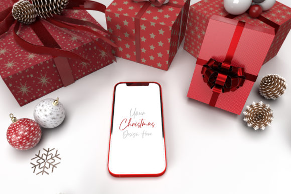 Christmas Mockup with Smartphone Graphic Product Mockups By Avadesing