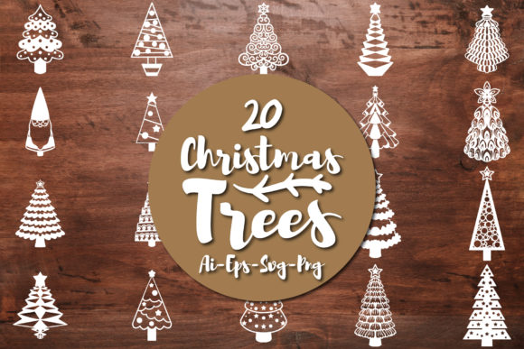 Print on Demand: Christmas Trees Silhouette Graphic Crafts By Bayu Baluwarta