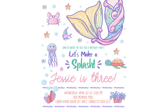 Cute Mermaid and Sea Life Cartoon Graphic Illustrations By maniacvector