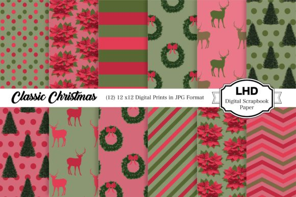 Digital Paper Christmas Digital Prints Graphic Patterns By LeskaHamatyDesign