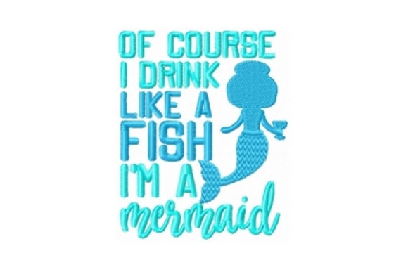 Drink Like a Fish Beach & Nautical Embroidery Design By Sew Terific Designs