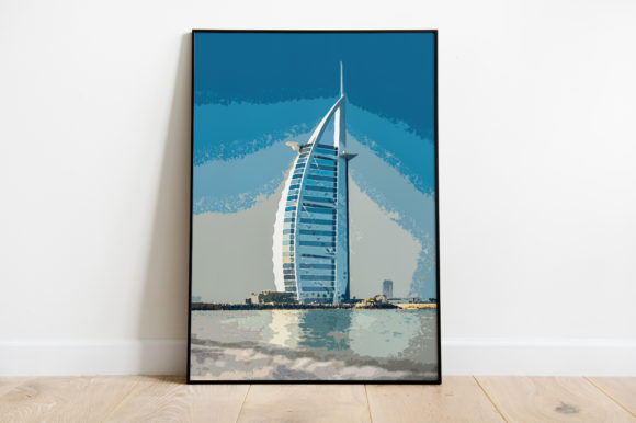 Print on Demand: Dubai Architecture Building  Watercolor Graphic Illustrations By Silenic.co
