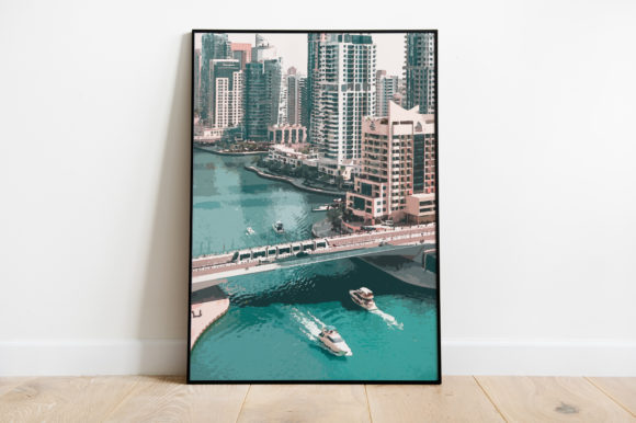 Print on Demand: Dubai Cityscape with Boat Watercolor Graphic Illustrations By Silenic.co