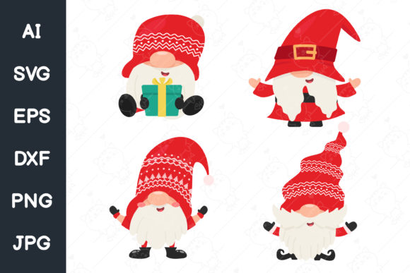 Print on Demand: Dwarf Gnomes Wear Red Hats. Svg File. Graphic Illustrations By CRStocker
